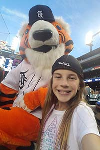 Tehya with Detroit Tigers mascot